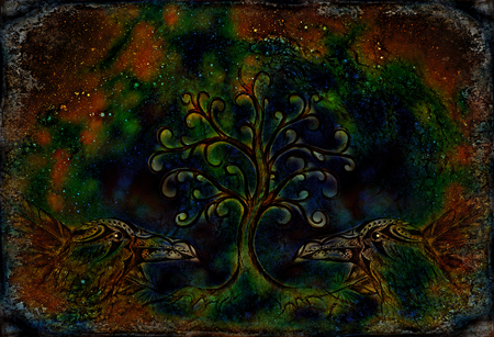 pair of ravens with tree of life symbol. 写真素材