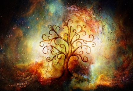 tree of life symbol on structured and space background, yggdrasil. 스톡 콘텐츠
