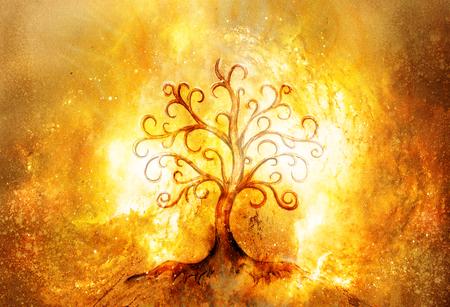 simbolo dell'albero della vita su sfondo strutturato e spaziale, yggdrasil.