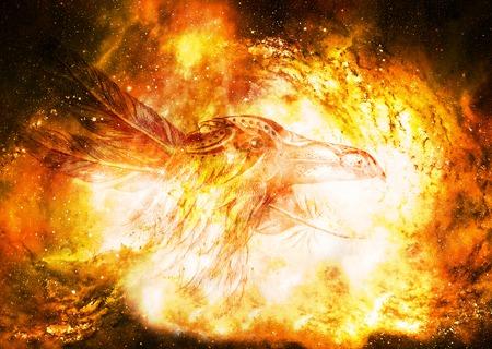 Dibujo de cuervo ornamental con plumas en el espacio cósmico.