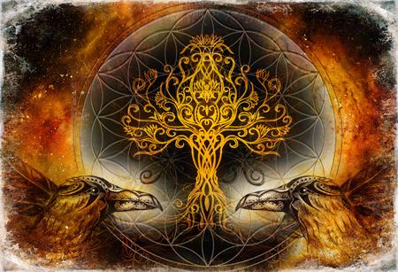 par de cuervos con el árbol de la vida y el símbolo de la flor de la vida de geometría sagrada, fondo del espacio.