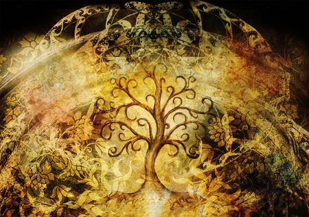 tree of life symbol on structured background, yggdrasil.