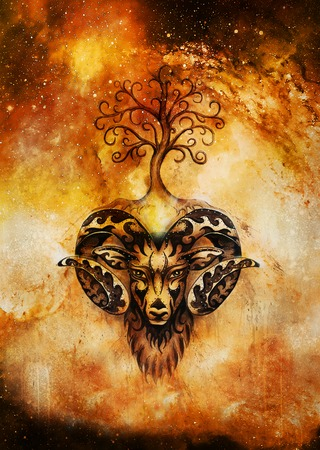 ornamental painting of Aries, sacred animal symbol and tree of life in cosmic space.