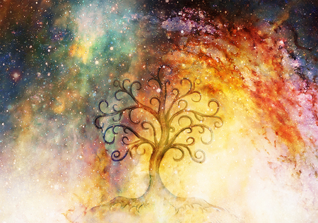 tree of life symbol on structured and space background, flower of life pattern, yggdrasil. 写真素材