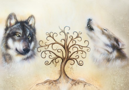 two wolves and tree of life symbol.