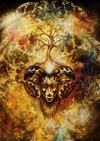 ornamental painting of Aries, sacred animal symbol and tree of life. 写真素材