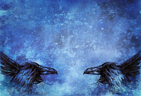 ornamental raven drawing with feathers on paper. Color effect. 写真素材