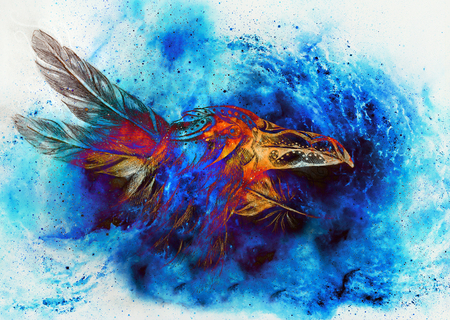 ornamental raven drawing with feathers in cosmic space.