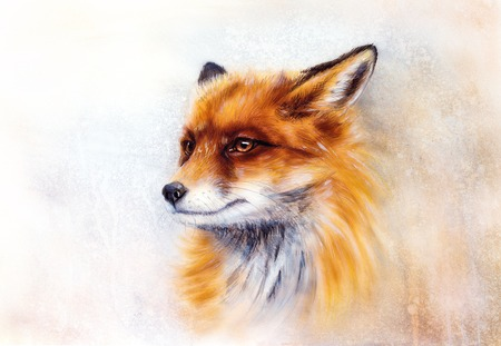 Painting of wild fox on paper. Aquarelle background. Banque d'images - 122718912