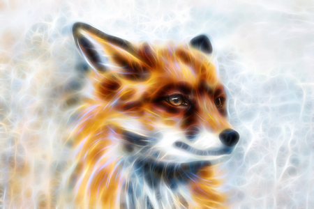 Painting of wild fox on paper. Fractal effect. Banque d'images - 122718913
