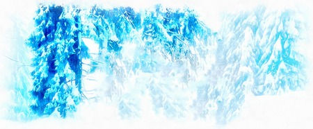 snow covered trees and computer painting effect.