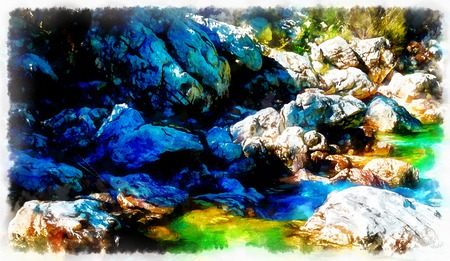 River rock with beautiful turquoise water and computer painting effect. Stok Fotoğraf