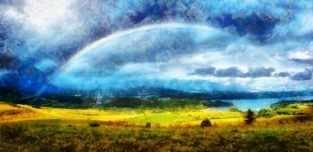 Schöne Landschaft, grüne und gelbe Wiese und See mit Berg im Hintergrund mit einem Regenbogen im Himmel und Computermalerei-Effekt. Standard-Bild