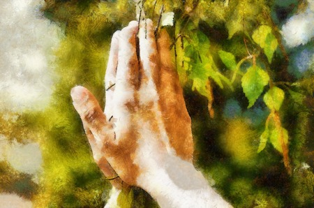 Spring prayer, adoring the healing powers of the spring, Tree in hands. Computer painting effect.
