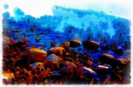 River rock and computer painting effect in border 版權商用圖片
