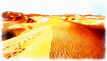 A moroccan desert scenery composed and computer painting effect.