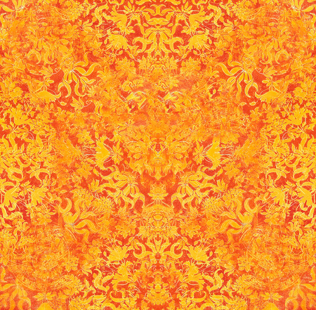ornamental structure pattern. Floral ornament background, orange color.