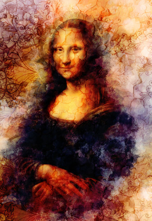 Reproduction of painting Mona Lisa by Leonardo da Vinci and graphic effect.