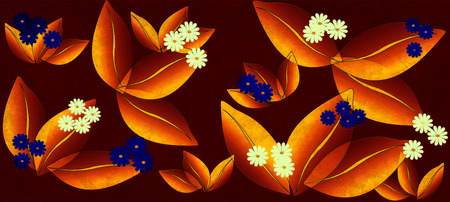 Flowers pattern, graphic floral motive.