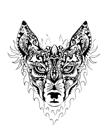 ornamental painting of wolf, sacred animal, eye contct. 写真素材