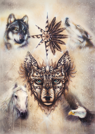 ornamental painting of wolf, sacred animal and ornamental star with feathers.