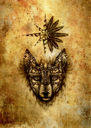 ornamental painting of wolf , sacred animal and ornamental star with feathers.