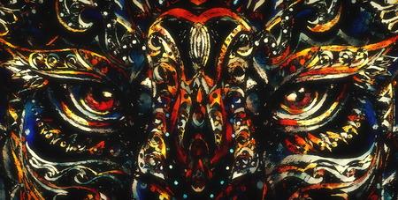ornamental painting of animal eye, sacred animal, eye contct.
