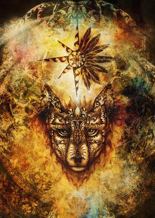 Cuadro ornamental de lobo, animal sagrado y estrella ornamental con plumas. Foto de archivo