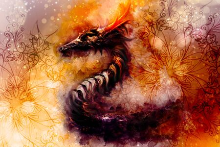 Ancient dragon and ornament and Softly blurred watercolor