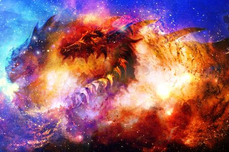 Dragón cósmico en el espacio, abstracto cósmico