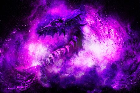 Cosmic dragon in space, cosmic abstract