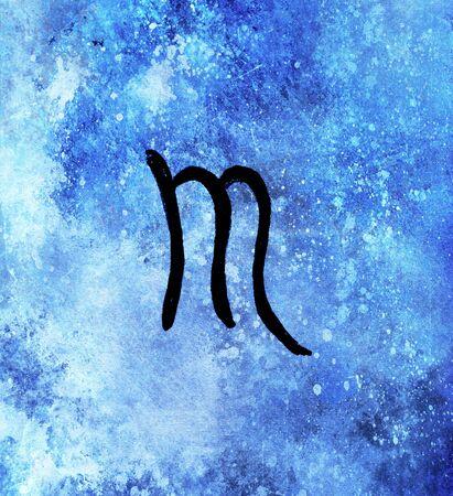 Hand drawn horoscope astrology symbols, blue background. Imagens