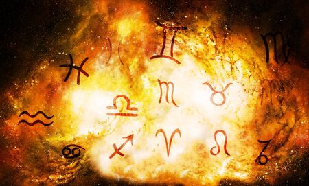 Hand drawn horoscope astrology symbols in cosmic space.