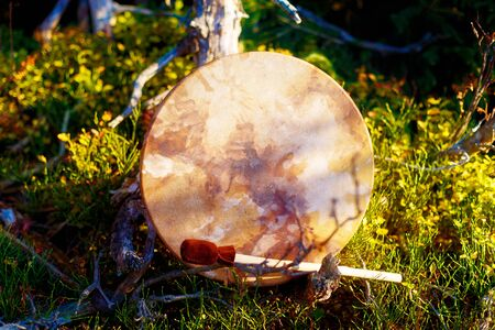 shamanic drum in nature, shamanic drum made of deer goat. Stock Photo
