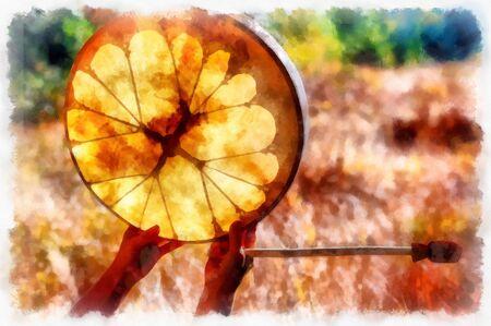 tambor de marco de chamán en mano de mujer en la naturaleza. Efecto de pintura por computadora Foto de archivo