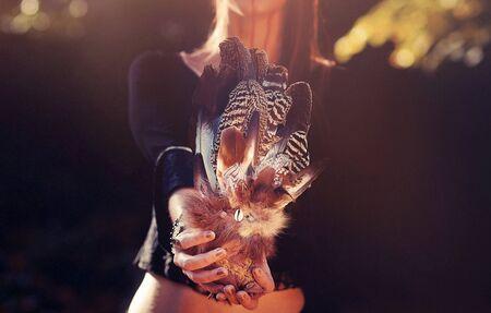 Shaman woman and shamanic feathers on denim