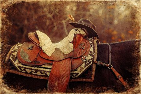 detail of beautiful horse saddl with natural textures and a hat. Old photo effect.