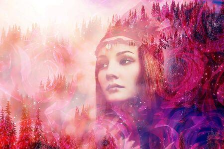 Mujer chamán en paisaje invernal, collage de artista.