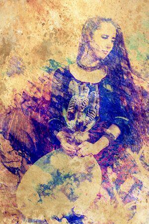 ragazza sciamanica con tamburo a cornice su sfondo strutturato astratto