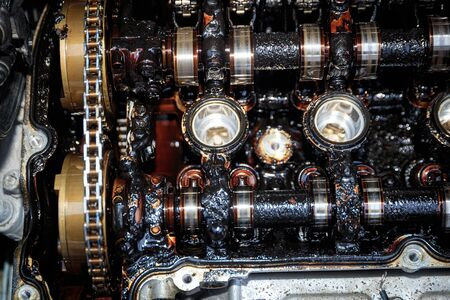 Moor carbonization, detail on disassembled car engine Stock Photo
