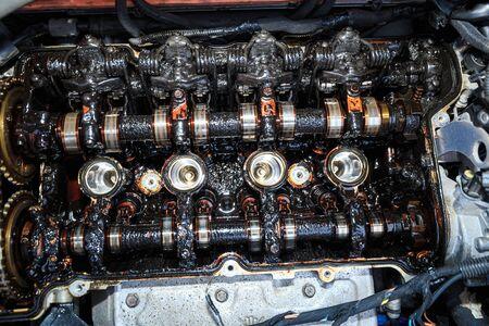 Moor carbonization, detail on disassembled car engine Stok Fotoğraf
