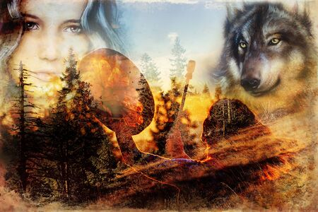beautiful shamanic girl playing on shaman frame drum in the nature. Computer collage and painting effect