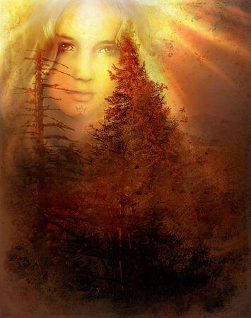 gardien de fée de forêt mystique au-dessus d'un paysage boisé