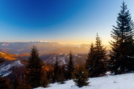 Beautiful mountain snowy landscape. Beautiful sunny day in the mountains