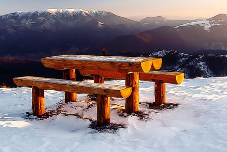 Wooden bench in winter landscape, beautiful landscape scenery and Painting effect