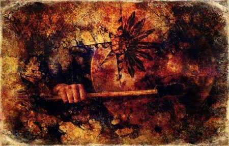 Tambor chamánico en mano de mujer y estrella de adorno