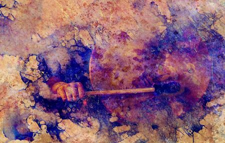 shamanic girl with frame drum on abstract structured background Banco de Imagens