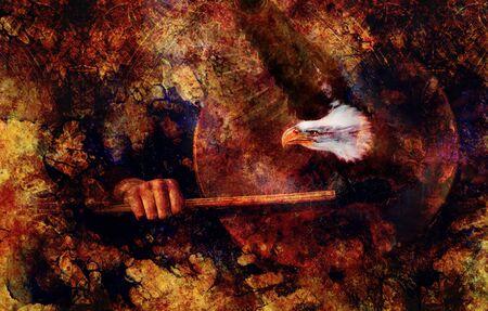 Tambor chamánico en mano de mujer y estrella de adorno Foto de archivo