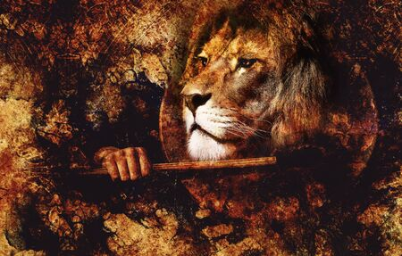 shamanic drum in woman hand and lion Stock Photo