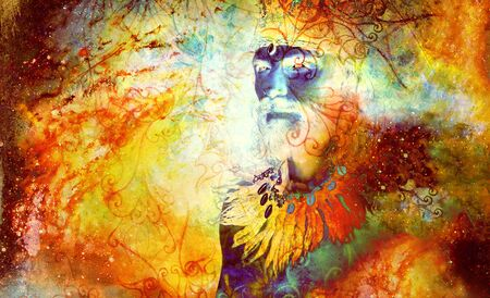 shamanic man with on abstract structured space background